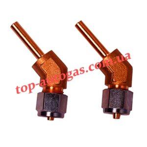 Фитинги для крепления термопластиковой трубки d6, 135*, FARO, стальн. гайка (пропан)